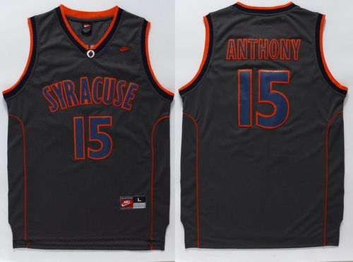 Orange #15 Carmelo Anthony Black Basketball Stitched NCAA Jersey