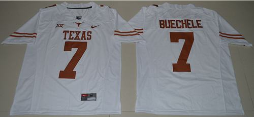 Longhorns #7 Shane Buechele White Limited Stitched NCAA Jersey