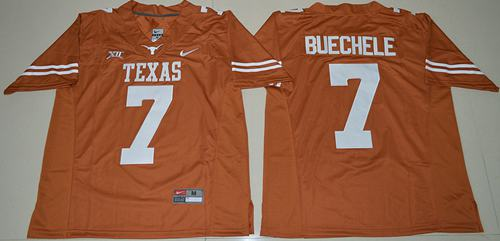 Longhorns #7 Shane Buechele Orange Limited Stitched NCAA Jersey