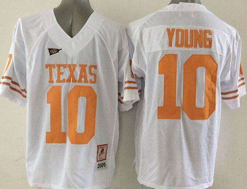 Longhorns #10 Vince Young White Stitched NCAA Jersey