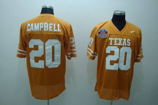 Longhorns #20 Earl Campbell Orange Stitched NCAA Jersey