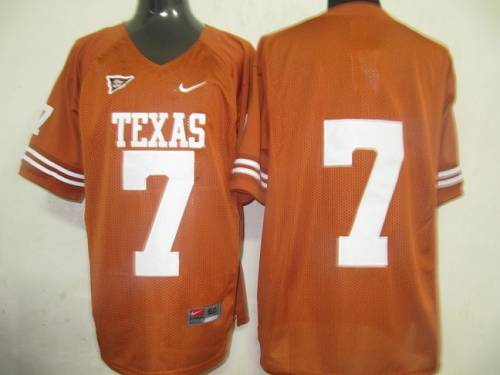Longhorns #7 Orange Stitched NCAA Jersey