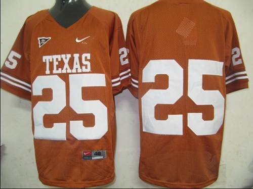 Longhorns #25 Orange Stitched NCAA Jersey