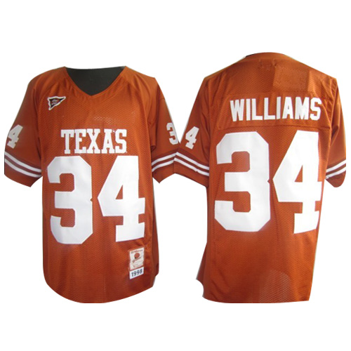 Longhorns #34 Ricky Williams Orange Stitched NCAA Jersey