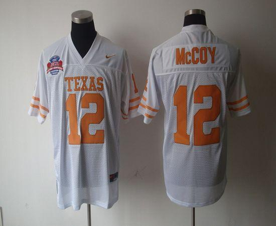 Longhorns #12 Colt McCoy White Stitched NCAA Jersey