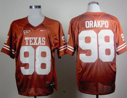 Longhorns #98 Brian Orakpo Orange Stitched NCAA Jersey