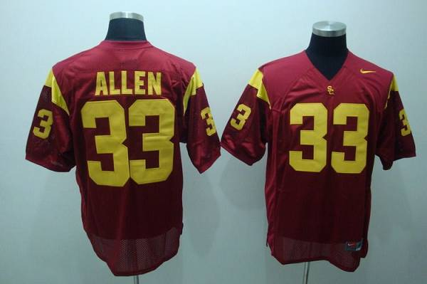 Trojans #33 Marcus Allen Red Stitched NCAA Jersey