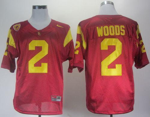 Trojans #2 Robert Woods Red With Pac-12 Patch Stitched NCAA Jersey