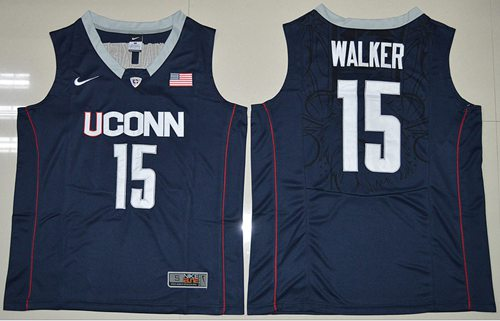 Huskies #15 Kemba Walker Navy Blue Basketball Stitched NCAA Jersey