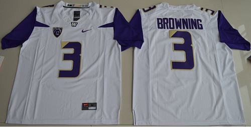 Huskies #3 Jake Browning White Limited Stitched NCAA Jersey