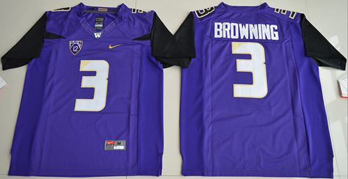 Huskies #3 Jake Browning Purple Limited Stitched NCAA Jersey