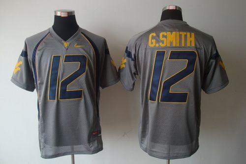 Mountaineers #12 Geno Smith Grey Stitched NCAA Jersey