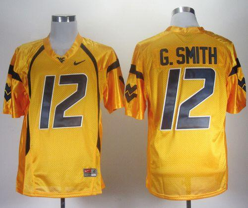 Mountaineers #12 Geno Smith Gold Stitched NCAA Jersey