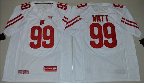 Badgers #99 J.J. Watt White Under Armour Stitched NCAA Jersey