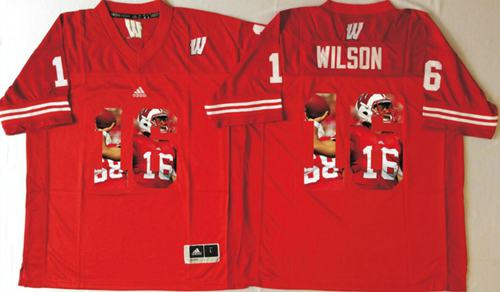 Badgers #16 Russell Wilson Red Player Fashion Stitched NCAA Jersey