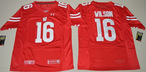 Badgers #16 Russell Wilson Red Under Armour Stitched NCAA Jersey