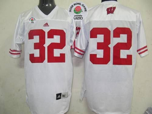 Badgers #32 White Rose Bowl Game Stitched NCAA Jersey
