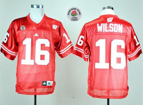 Badgers #16 Russell Wilson Red Rose Bowl Game Stitched NCAA Jersey