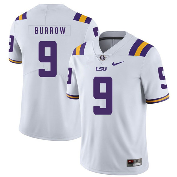 Men's LSU Tigers #9 Joe Burrow White Limited Stitched NCAA Jersey