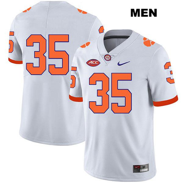 Men's Clemson Tigers #35 Justin Foster White No Name Stitched Football Jersey