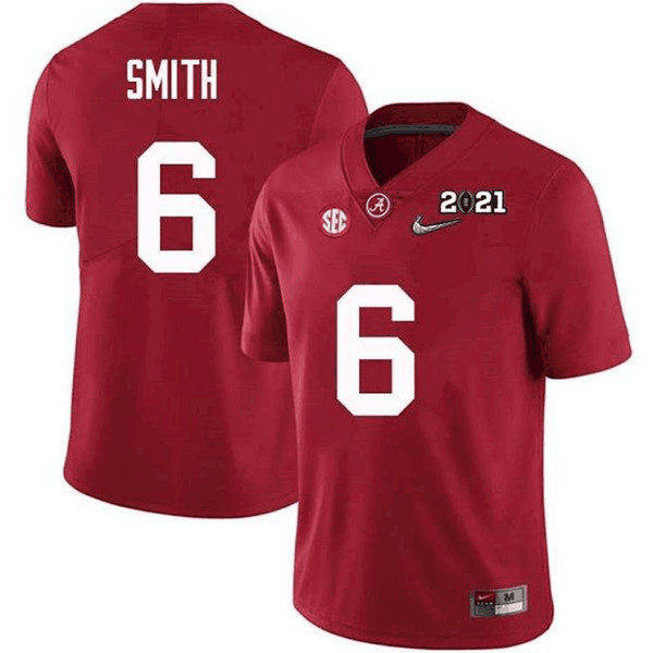 Men's Alabama Crimson Tide #6 DeVonta Smith Red 2021 National Champions Stitched NCAA Jersey