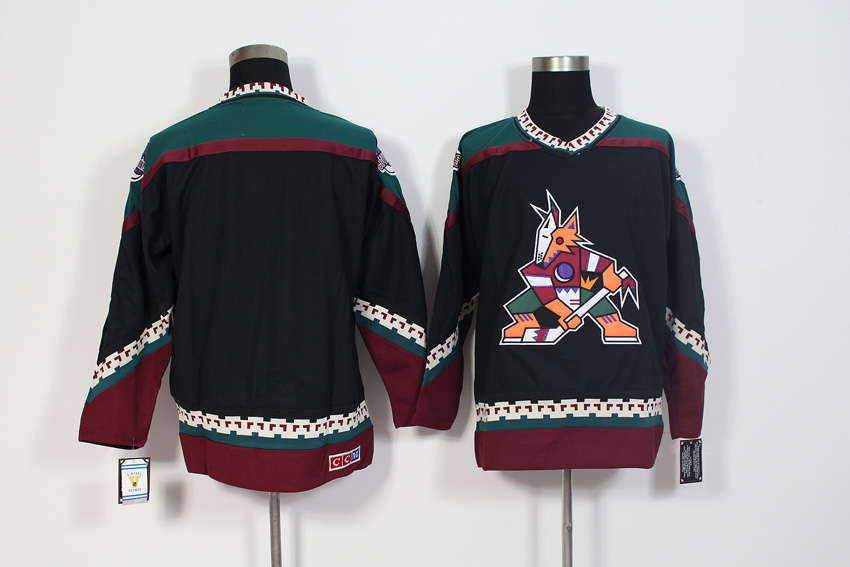 Men's Arizona Coyotes Black CCM Throwback Stitched NHL Jersey