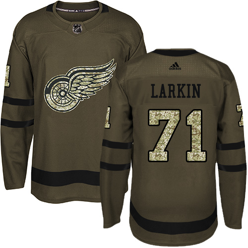 Men's Detroit Red Wings #71 Dylan Larkin Green Salute To Service Stitched NHL Jersey