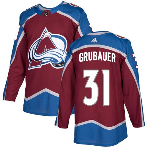 Men's Colorado Avalanche #31 Philipp Grubauer Red Stitched NHL Jersey