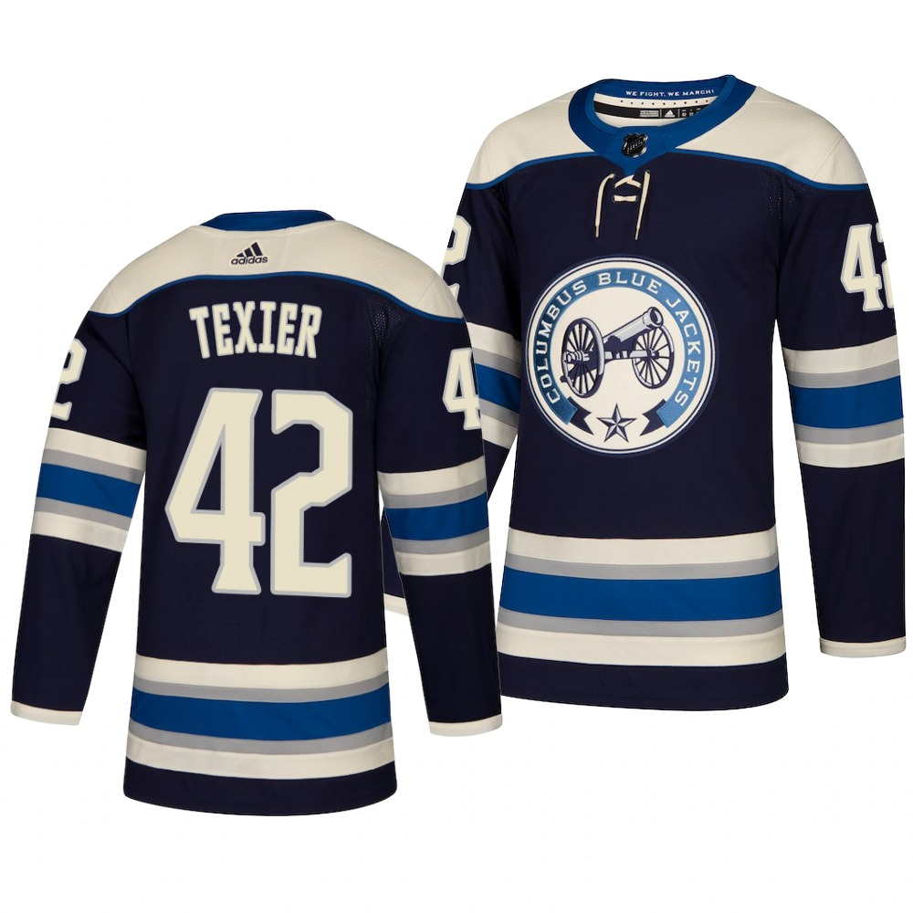 Men's Columbus Blue Jackets #42 Alexandre Texier Navy Blue Stitched NHL Jersey