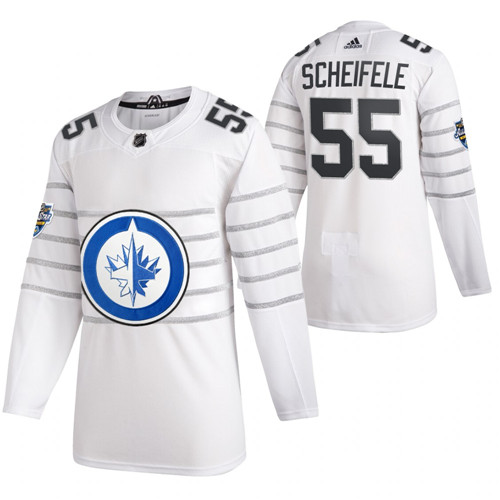 Men's Winnipeg Jets #55 Mark Scheifele 2020 White All Star Stitched NHL Jersey