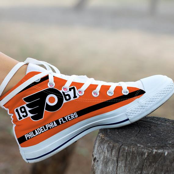 Women And Youth NHL Philadelphia Flyers Repeat Print High Top Sneakers