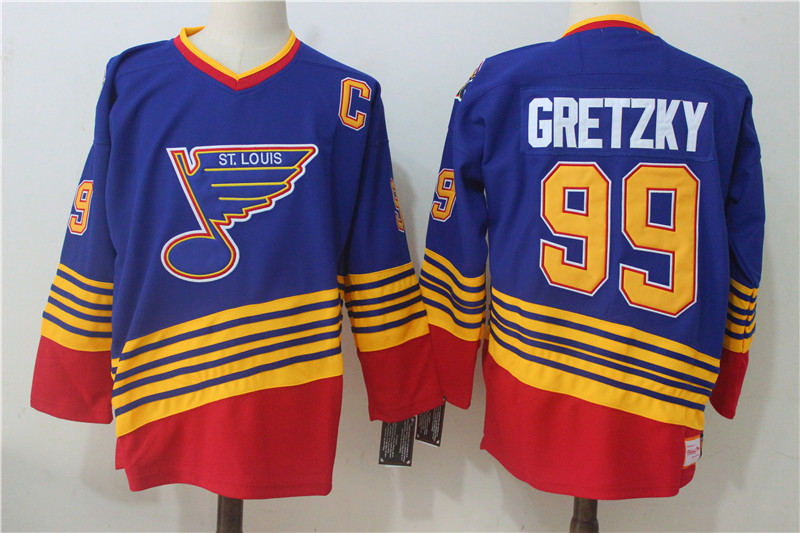 Men's St. Louis Blues #99 Wayne Gretzky Mitchell & Ness Blue Throwback 1995 - 96 Authentic Road Stitched NHL Jersey