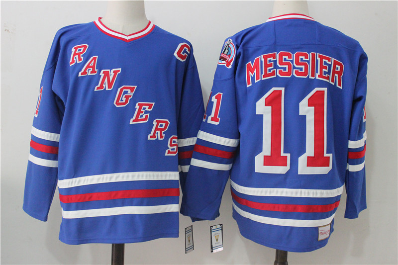 Men's New York Rangers #11 Mark Messier Royal Throwback CCM Stitched NHL Jersey