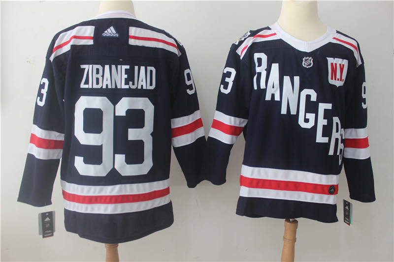 Men's Adidas New York Rangers #93 Mika Zibanejad Navy 2018 Winter Classic Authentic Stitched NHL Jersey