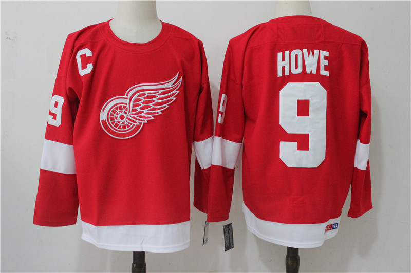 Men's Detroit Red Wings #9 Gordie Howe Red Throwback CCM Stitched NHL Jersey