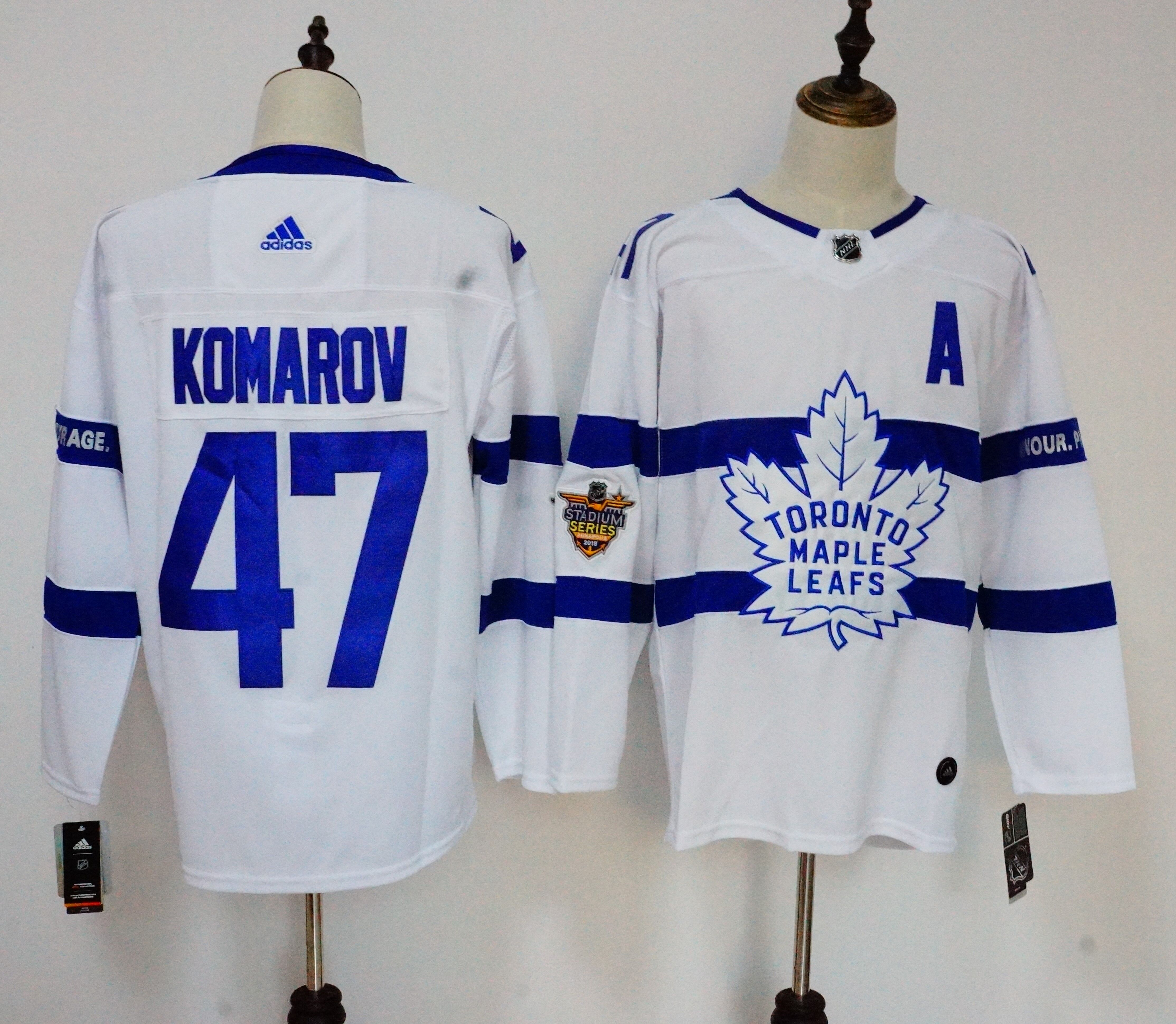 Men's Adidas Toronto Maple Leafs #47 Leo Komarov White 2018 NHL Stadium Series Stitched NHL Jersey
