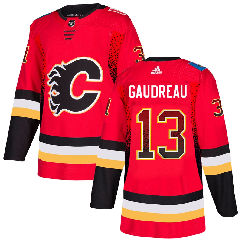 Men's Calgary Flames #13 Johnny Gaudreau Red Drift Fashion Stitched NHL Jersey