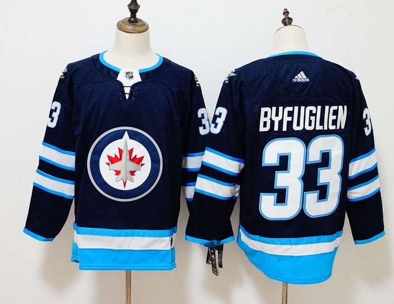 Men's Adidas Winnipeg Jets #33 Dustin Byfuglien Navy Stitched NHL Jersey