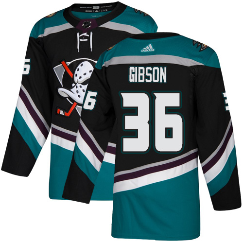 Men's Adidas Anaheim Ducks #36 John Gibson Black/Teal Stitched NHL Jersey