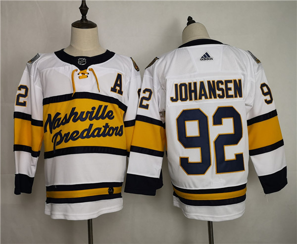 Men's Adidas Nashville Predators #92 Ryan Johansen White Stitched NHL Jersey