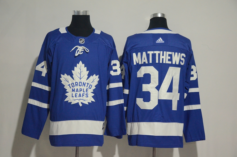 Men's Toronto Maple Leafs #34 Auston Matthews Blue Adidas Stitched NHL Jersey