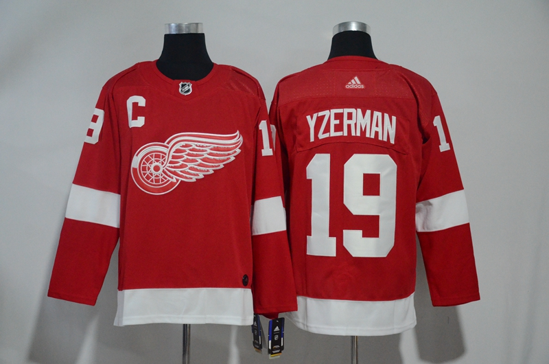 Men's Detroit Red Wings #19 Steve Yzerman Red Stitched NHL Jersey