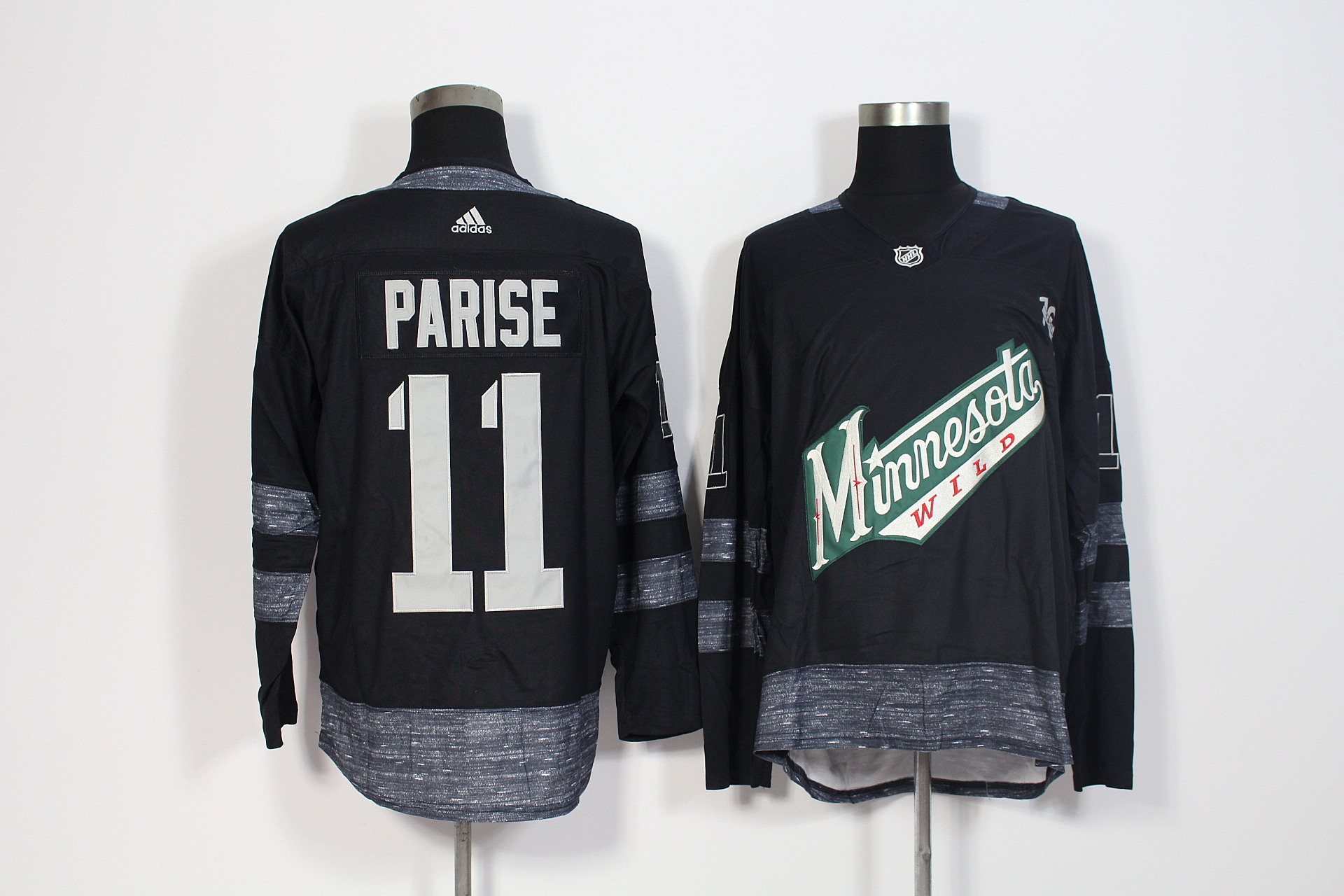 Men's Adidas Minnesota Wild #11 Zach Parise Black 1917-2017 100th Anniversary Stitched NHL Jersey
