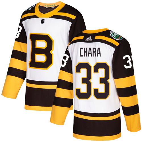 Men's Boston Bruins #33 Zdeno Chara White 2019 Classic Stitched NHL Jersey