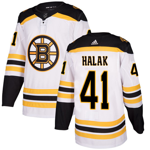 Men's Boston Bruins #41 Jaroslav Halak White Stitched NHL Jersey