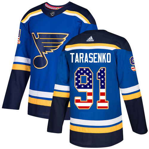Men's St. Louis Blues #91 Vladimir Tarasenko Blue USA Flag Stitched NHL Jersey
