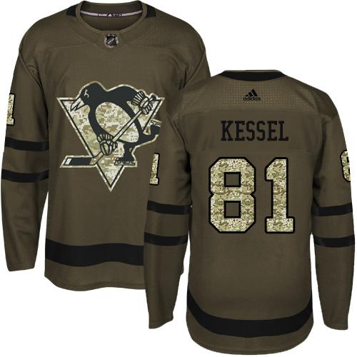 Men's Pittsburgh Penguins #81 Phil Kessel Green Salute To Service Stitched NHL Jersey