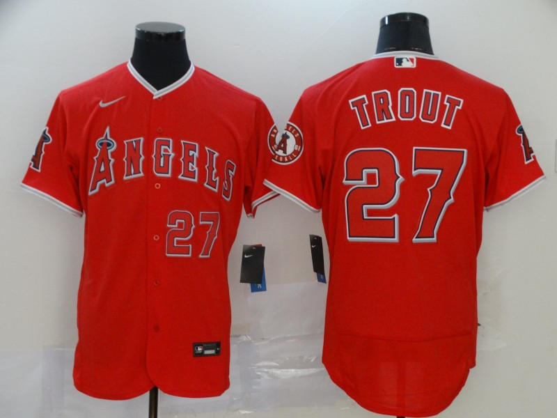 Men's Los Angeles Angels #27 Mike Trout Red Flex Base Stitched MLB Jersey