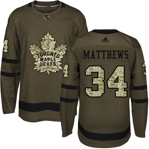 Men's Toronto Maple Leafs #34 Auston Matthews Green Salute To Service Stitched NHL Jersey