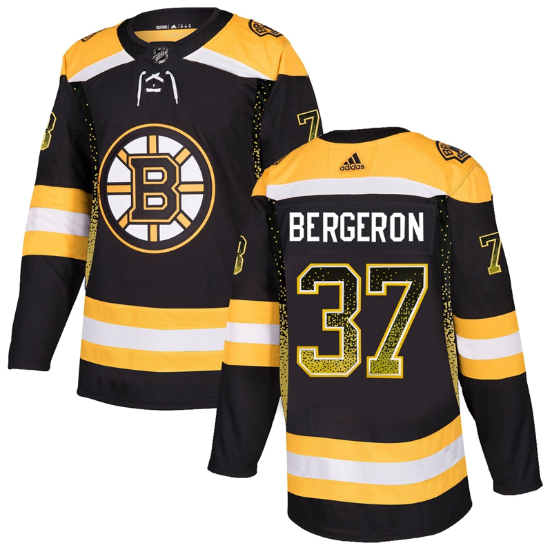 Men's Boston Bruins #37 Patrice Bergeron Black Drift Fashion Stitched NHL Jersey